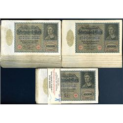 Reichsbanknote, 1922 First Issue Banknote Group of 141 Notes.
