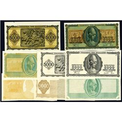 Bank of Greece, 1943 Inflation Issue Progress Proof Lot of 8.