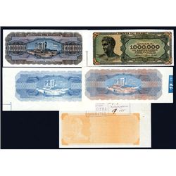 Bank of Greece 1944 Inflation Issue Progress Proof Set of 5.