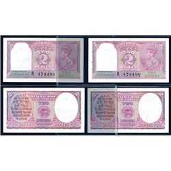 Reserve Bank of India, 1943 Issue High Grade Sequential Pair of Notes.
