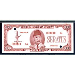 Republik Indonesia Serikat, 1949 Essay Banknote.
