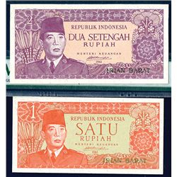Republik Indonesia, ND (1963) on 1961, Regional - Irian Barat High Grade Pair.