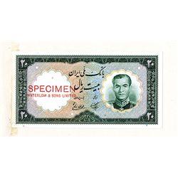 Bank Melli Iran, 1958 Issue Color Trial Specimen Banknote.