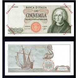 Banca D'Italia, 1964 Issue Specimen Banknote.