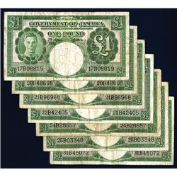 Government of Jamaica, 1955 Issue Group of 7 Banknotes.