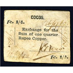 Cocos, 1879 Unlisted earlier First Issue Rarity.
