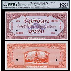 Lao, 1948 Issue Specimen Essay Banknote.