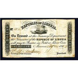 Republic of Liberia, 1857-62 Issue Banknote.