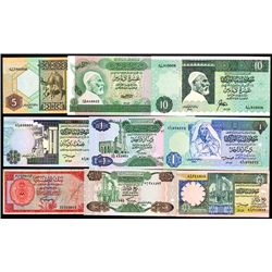 Libya Banknote Assortment of 24, 1963 to 1990 Issues.