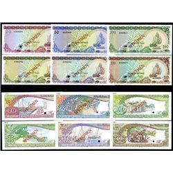 Maldives Monetary Authority, 1983 Issue Specimen Set of 6 notes.