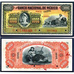 El Banco Nacional De Mexico, ND (ca.1900-1913), 1000 Pesos, P-S263s3, Specimen, PMG graded About Unc