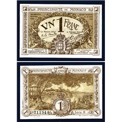 Principaute De Monaco, 1920 Emergency Issue Banknote.