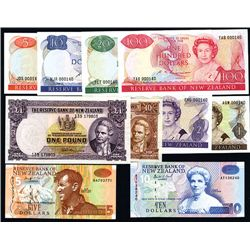 Reserve Bank of New Zealand, S.T. Russell Signatures ND (1985-89) Set of 6 With Matching Serial Numb