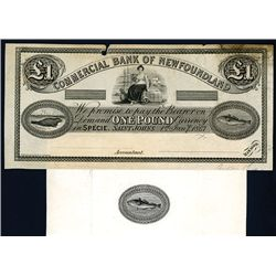 Commercial Bank of Newfoundland, 1867 Essay Proof Banknote.
