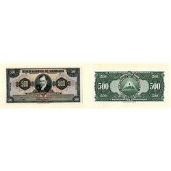 Banco Nacional De Nicaragua, 1945 Issue Proof Banknote.