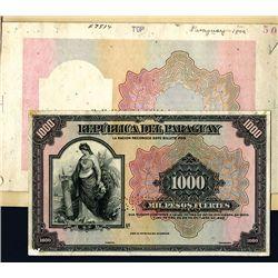Republica Del Paraguay 1923 Specimen Face with Matching Progress Undertint Proof Set of 5.