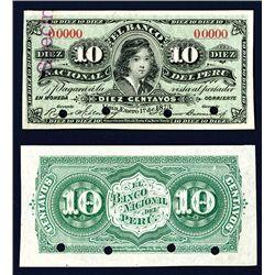 Banco Nacional Del Peru, 1873 Second Fractional Issue Specimen.
