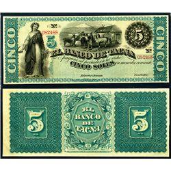 Banco De Tacna, ND (1870's) Remainder Banknote.