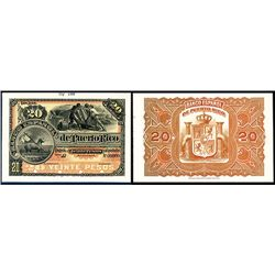 Banco Espanol De Puerto Rico, ND (1889) Issue Proof Front & Back Banknote.