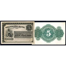 Standard Bank of British South Africa, Limited 1870's Issue Proof Banknote.