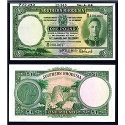 Southern Rhodesia, 1939-52 Issue Specimen Banknote.