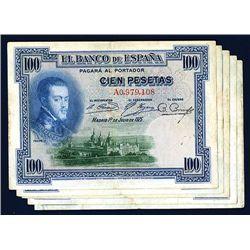 El Banco De Espana, 1925 Issue Lot of 5 Notes.