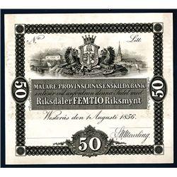 Malare Provinsernas Enskilda Bank, 1856 Issue Proof.