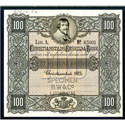 Christianstads Enskilda Bank, 1875 Issue Specimen Banknote.