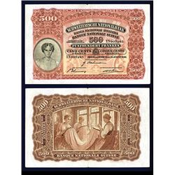 Banque Nationale Suisse, 1921-28 Issue Banknote.