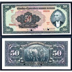 Central Bank of Turkey, 1930 (1942-47) Third Issue Specimen Banknote.