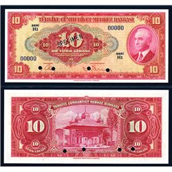 Central Bank of Turkey, 1930 (1947-48) Fourth Issue Specimen Banknote.