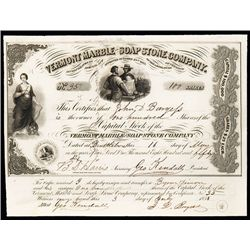 American Bank Note Co. imprint on 1856 Stock Certificate, Possibly earliest use of the ABN Imprint.