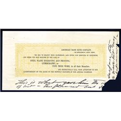 American Bank Note Co. ca. 1860-70's, Advertising Leaflet Specimen or Proof.