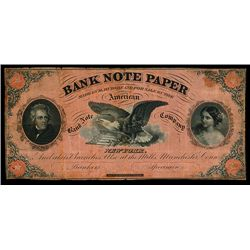 """ABNC 1860's Advertising Note for """"Bank Note Paper""""."""