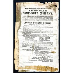 Announcement of the Formation of the American Bank Note Co., 1858.