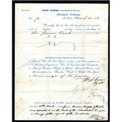 Letter Certifying Receipt of Print Plates from Rawdon, Wright & Hatch, 1844.