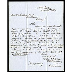 Letter Requesting Transfer of Print Plate to Rawdon, Wright, Hatch & Edson, 1849. On stamp less cove
