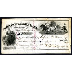 Spinner Autograph on 1855 Mohawk Valley Bank Check.