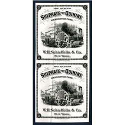 Sulphate of Quinine, Uncut Proof Label Pair ca. 1870-80's.