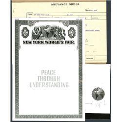 New York World's Fair Specimen Bond Photo Proof of Border and Vignette with Correspondence.