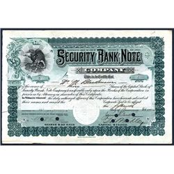 Security Bank Note Company, 1902 Issued Stock Certificate.