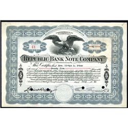 Republic Bank Note Company, 1940 Issued Stock Certificate.