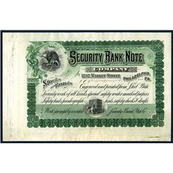 Security Bank Note Co. ND (ca.1900-1910) Advertising Stock Certificate.