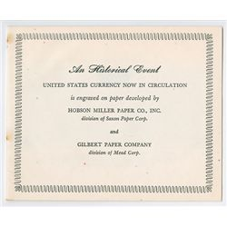 U.S. Advertising Booklet, Hobson Paper Company Producer of Paper used on U.S. Currency With Note.