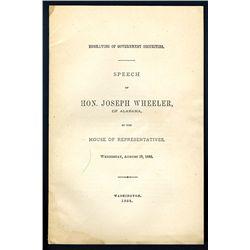 Speech of Hon. Joseph Wheeler in the House of Representatives Regarding Engraving of Government Secu