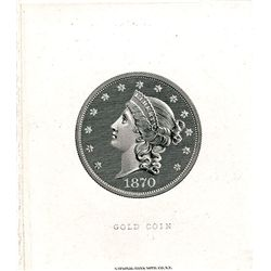 Gold Coin Vignette Die Proof Used on National Gold Bank Note Backs.