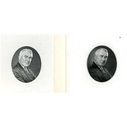 G.F.C. Smillie's Progress Proof Pair of Engraved Die Pulls of Warren G. Harding.