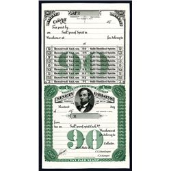 Lincoln Portrait on U. S. Internal Revenue, 90 Gallons Tax Paid Stamp - Series of 1875 Proof.