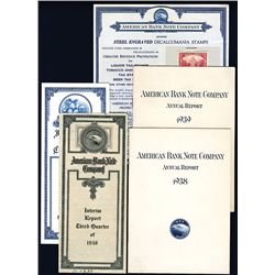 American Bank Note Company 1938-1939 Annual Reports & Quarterly Reports from ABNC and International