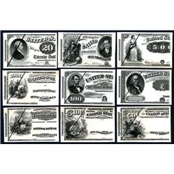 Counterfeit Detector Banknote Plates, ca.1860-70's Lot of 19 Different.